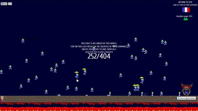 Interactive 404 Page with Lemmings Game