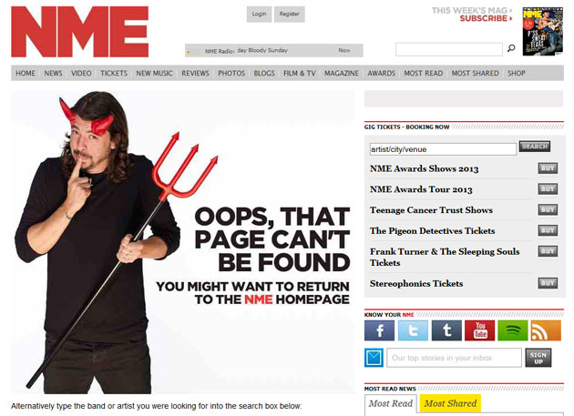 NME 404 Page Featuring Dave Grohl